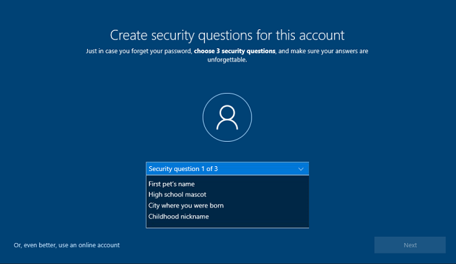 Create security questions screen in OOBE