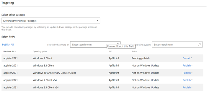 Publish a driver to Windows Update - Windows drivers