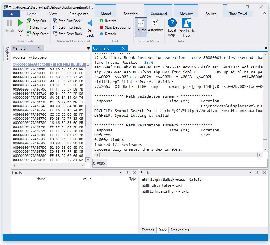 Time Travel Debugging Sample App Walkthrough Microsoft Docs