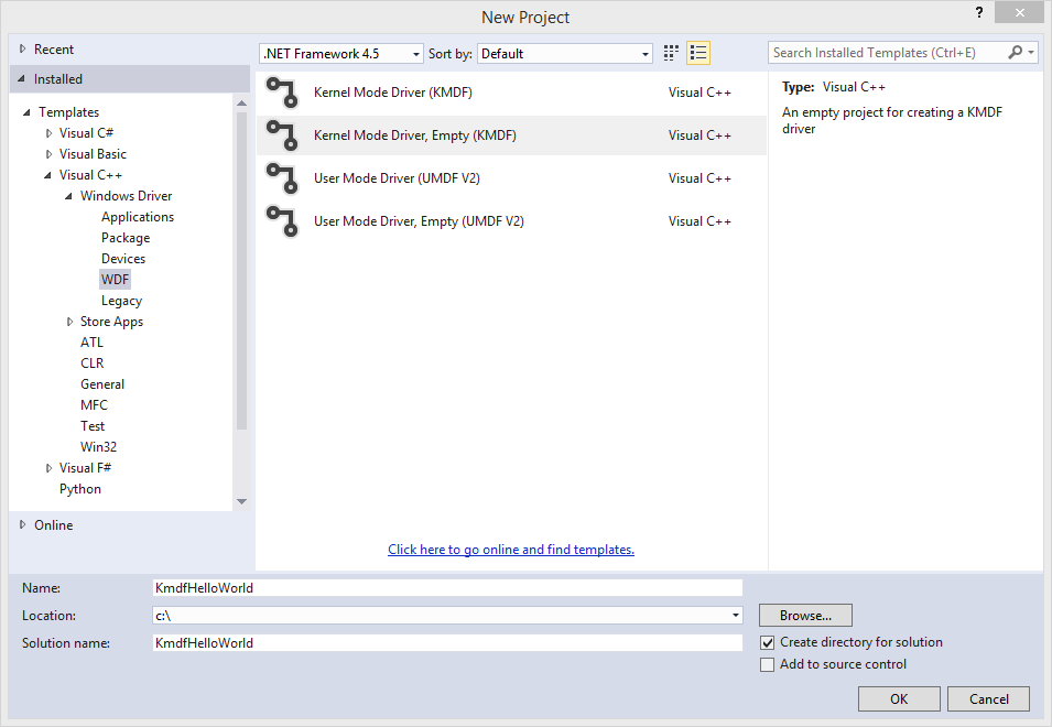 Write a universal hello world driver kmdf microsoft docs screen shot of the new project dialog box publicscrutiny Images