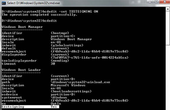 screen shot of the results of using the testsigning boot configuration option