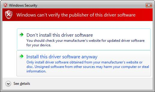 Troubleshooting Driver Signing Installation - Windows