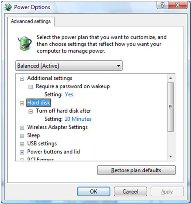 screen shot illustrating ipm power options
