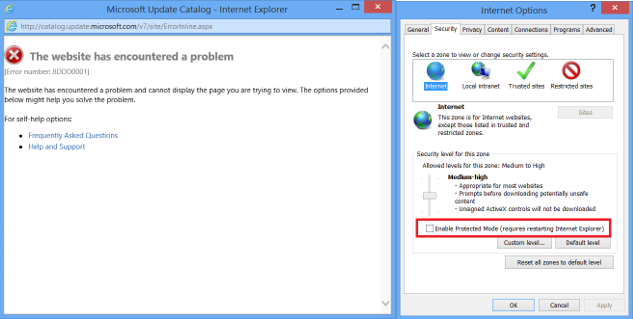 how to put protected mode on internet explorer