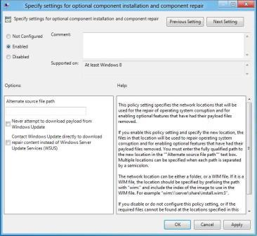 group policy setting features on demand