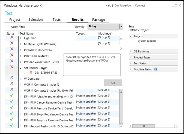 Exporting a Failed HLK Job | Microsoft Docs