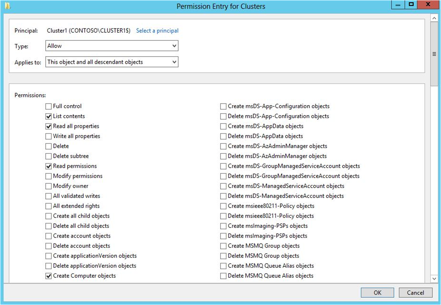 Granting the Create Computer objects permission to the CNO