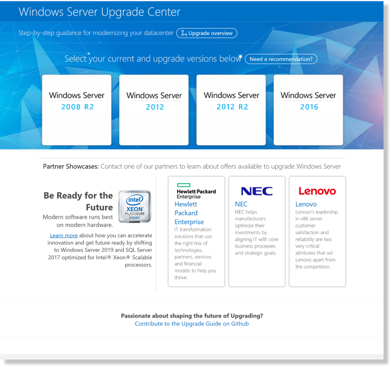 Install, upgrade, or migrate to Windows Server 2019