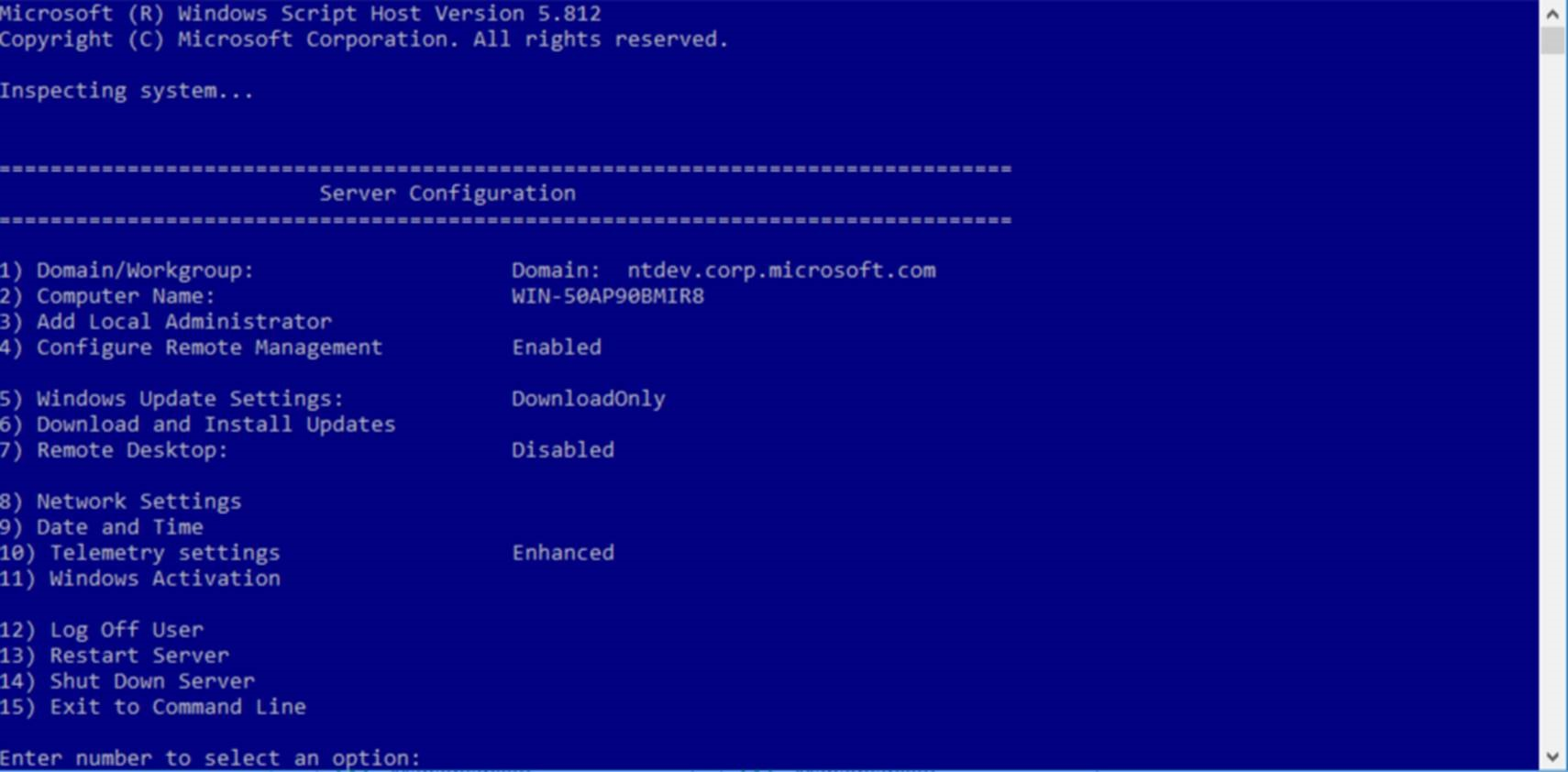 Configure a Server Core installation of Windows Server with
