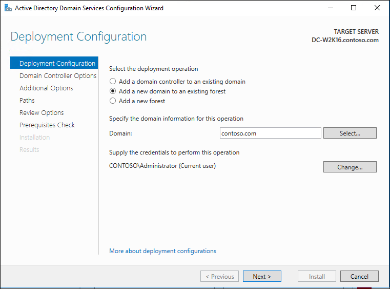 Screenshot of the Deployment Configuration page of the Active Directory Domain Services Configuration Wizard showing the Add a domain controller to an existing forest option selected.