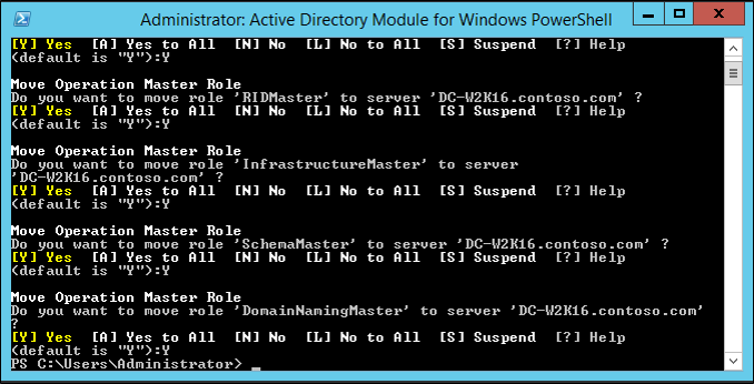 Screenshot of the Active Directory Module for Windows PowerShell window showing the results of the Move-ADDirectoryServerOperationMasterRole cmdlet.
