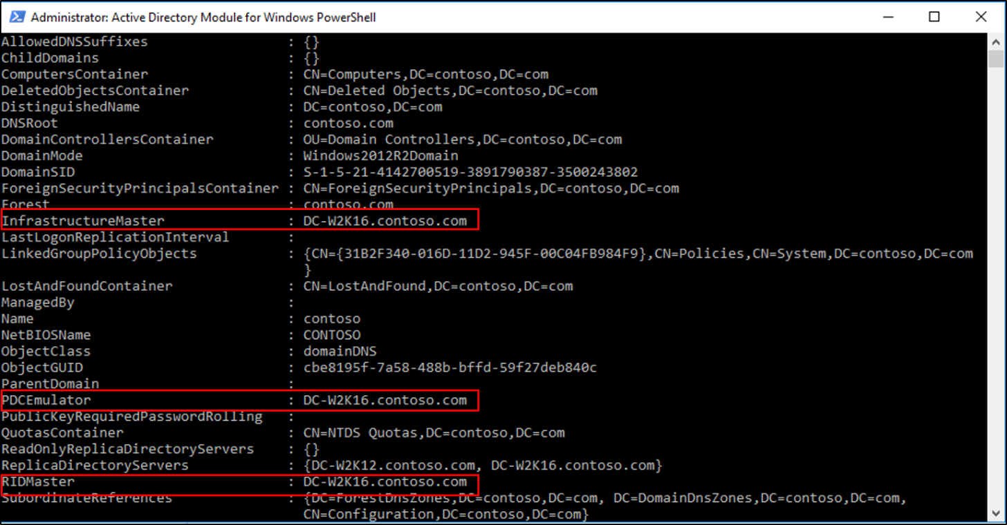 Screenshot of the Active Directory Module for Windows PowerShell window showing the results of the Get-ADDomain cmdlet with the Infrastructure Master, P D C Emulator, and R I D Master values called out.