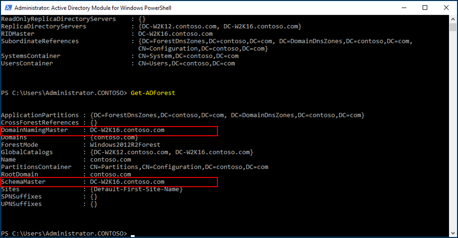 Screenshot of the Active Directory Module for Windows PowerShell window showing the results of the Get-ADForest cmdlet with the Domain Naming Master and Schema Master values called out.