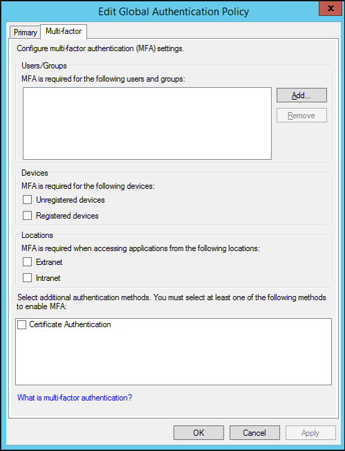 Configure Authentication Policies | Microsoft Docs