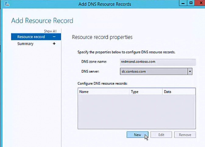 Configure DNS resource records