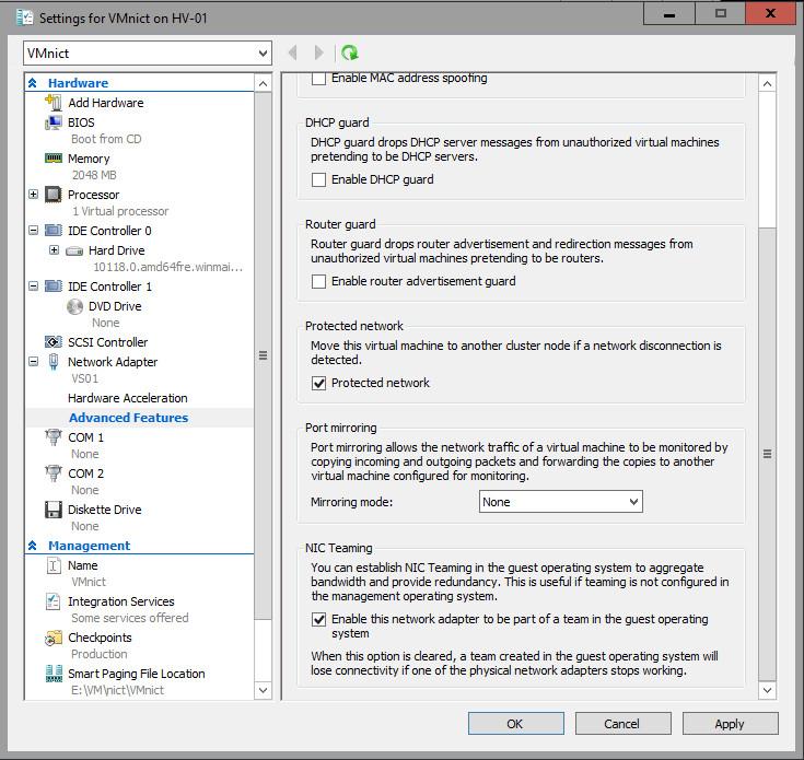 Create a new NIC Team on a host computer or VM | Microsoft Docs