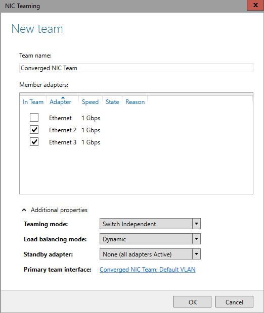 NIC Teaming settings | Microsoft Docs