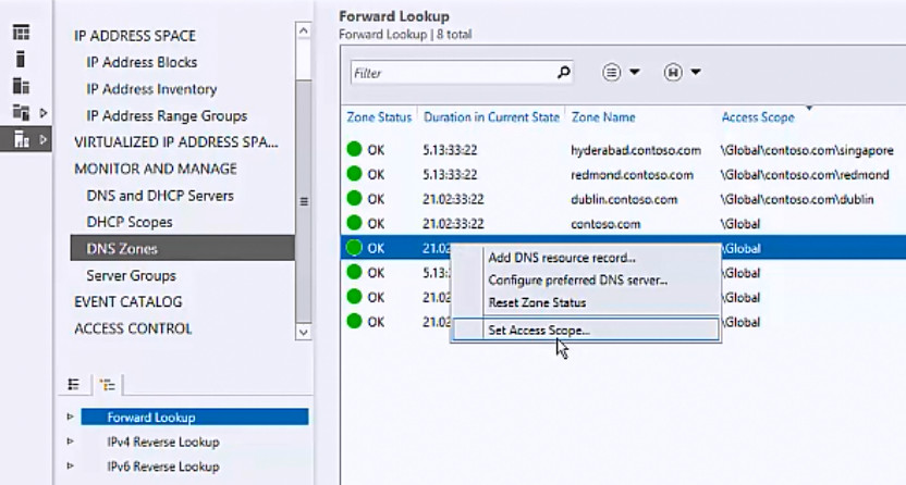 set access scope for a dns zone microsoft docs
