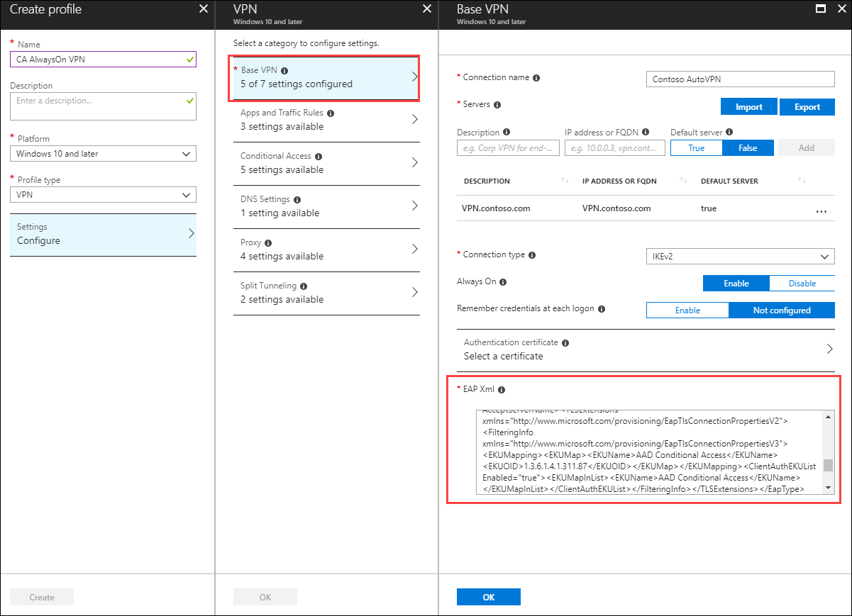 Create OMA-DM based VPNv2 Profiles to Windows 10 devices