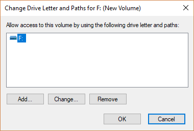 The Change Drive Letter and Paths dialog