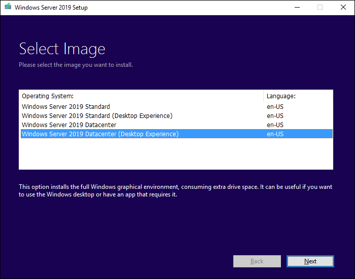 Screen to choose which Windows Server 2012 R2 edition to install