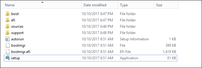 Windows Explorer showing the setup.exe file