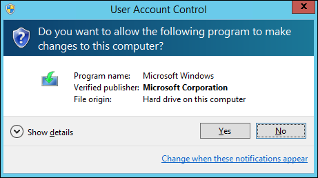 User Account Control asking for permission to start setup