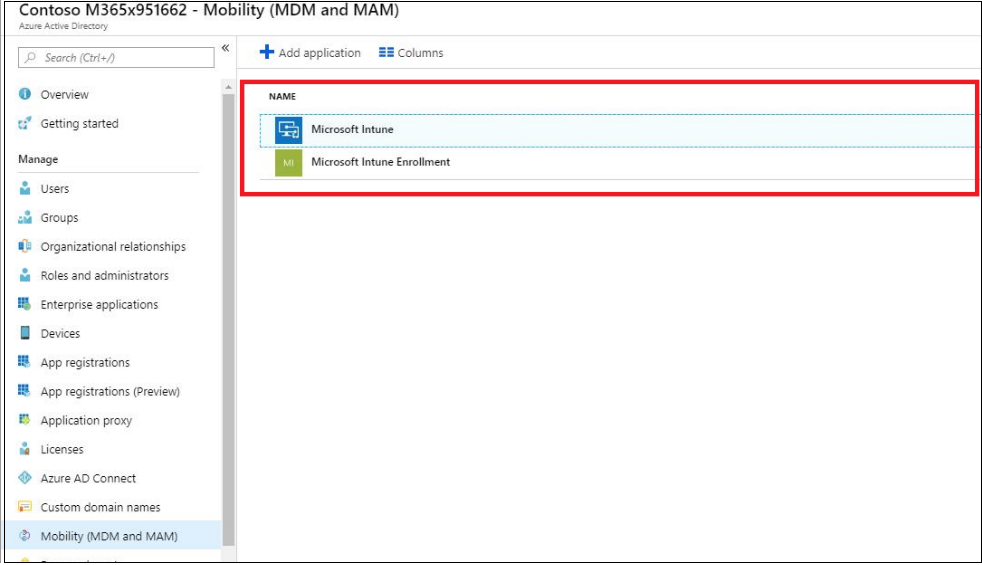 Mobility setting MDM intune