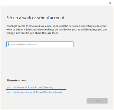 join work or school account to azure ad