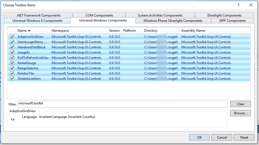 Windows Community Toolkit controls in the Visual Studio