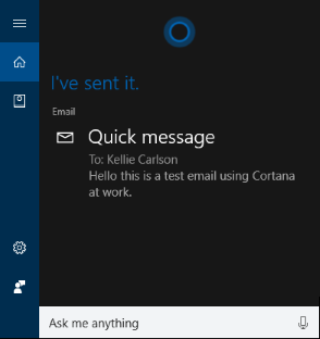 Test scenario 5 - Use Cortana to send email to a co-worker (Windows