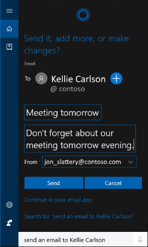 Send Emails with Cortana