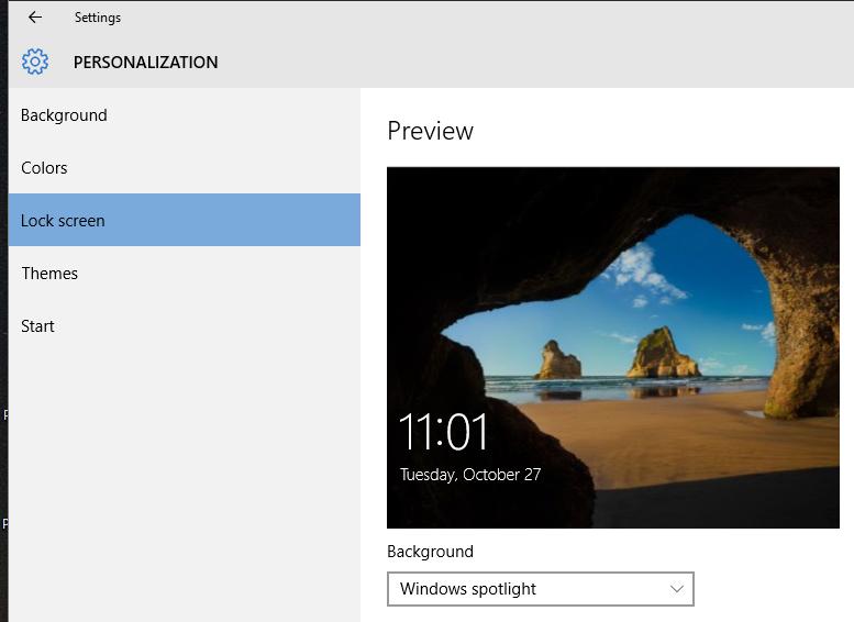 Configure Windows Spotlight on the lock screen (Windows 10