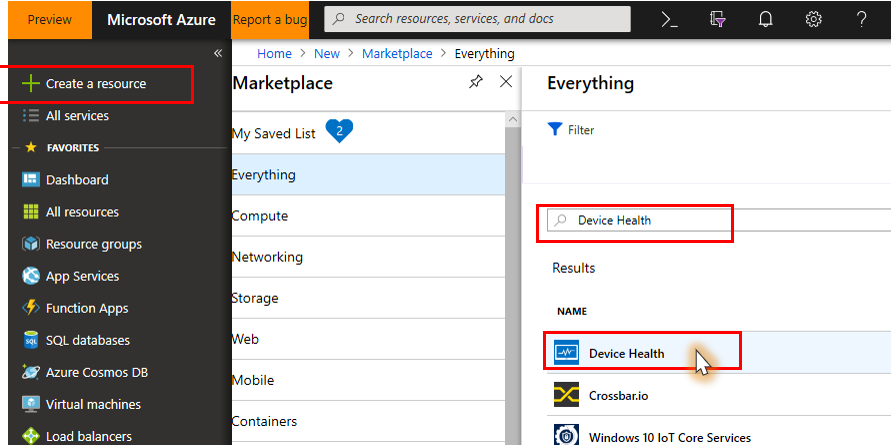 Azure portal page highlighting + Create a resource and with Device Health selected