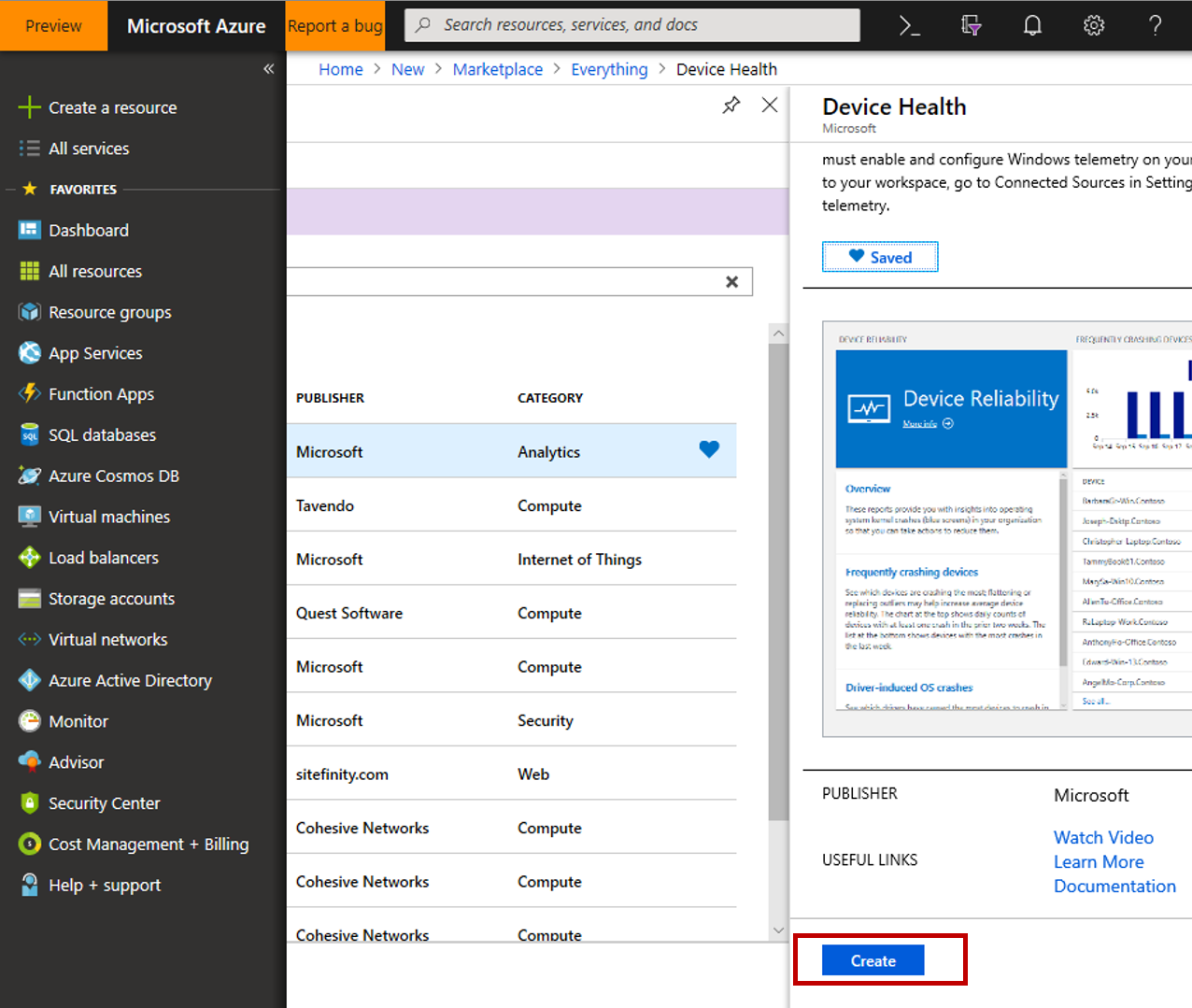 Azure portal showing Device Health fly-in and Create button highlighted(images/CreateSolution-Part2-Create.png)