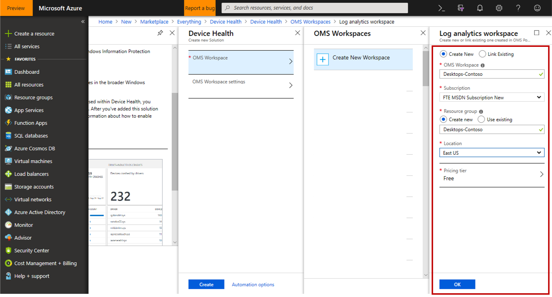 Azure portal showing Azure Monitor workspace fly-in