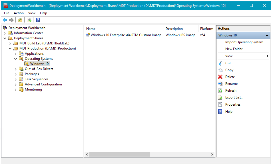 Screenshot of MDT