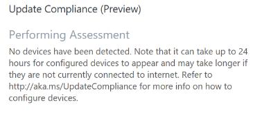 Update Compliance tile no data