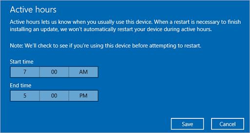 Manage device restarts after updates (Windows 10