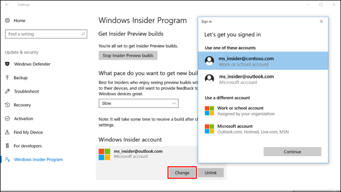 Windows insider program for business microsoft docs change windows insider account ccuart Gallery