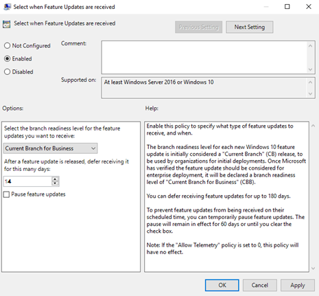 disable windows 10 home feature updates