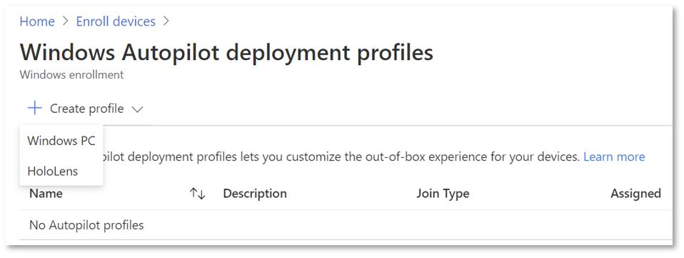 Create deployment profile
