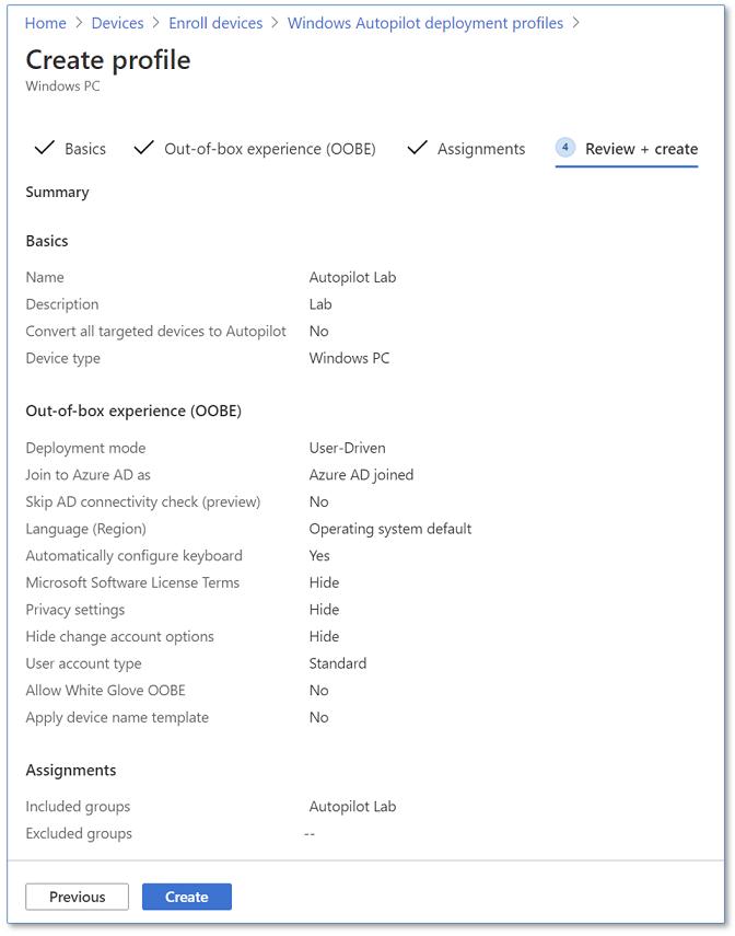 Deployment profile