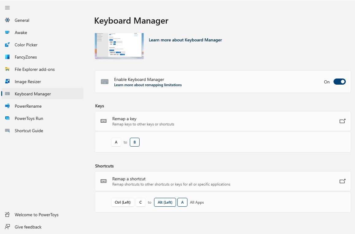 Microsoft PowerToys - Keyboard Manager