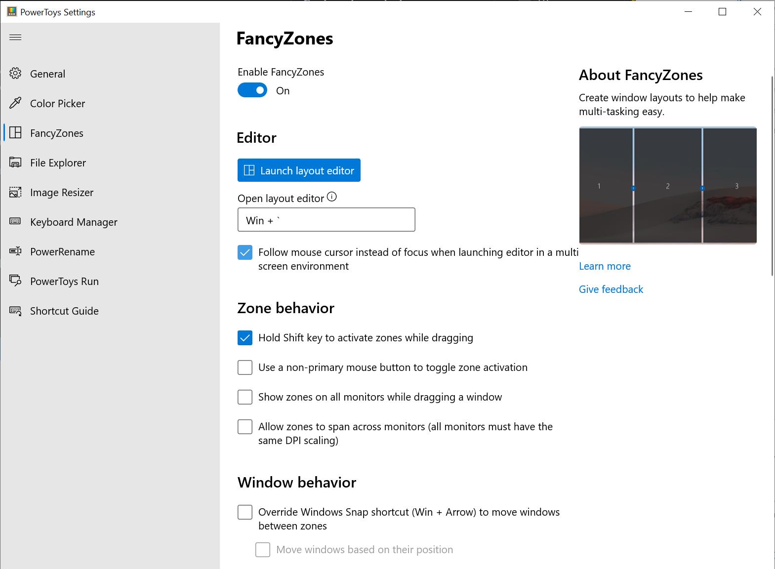 Microsoft PowerToys - FancyZones