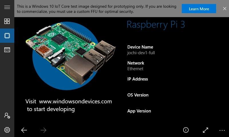 Windows 10 IoT Core Default App - Windows IoT | Microsoft Docs