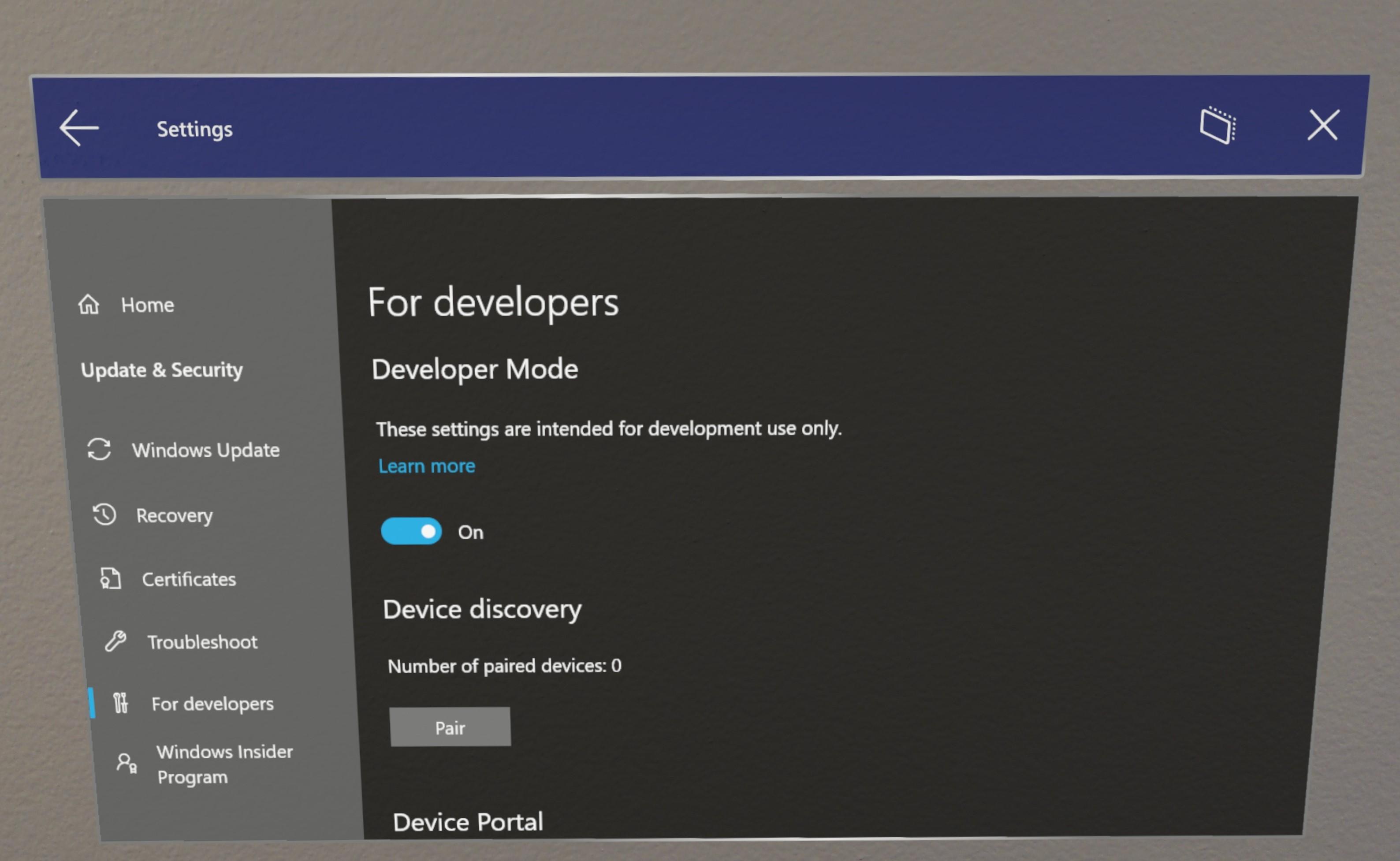 Using the Windows Device Portal - Mixed Reality | Microsoft Docs