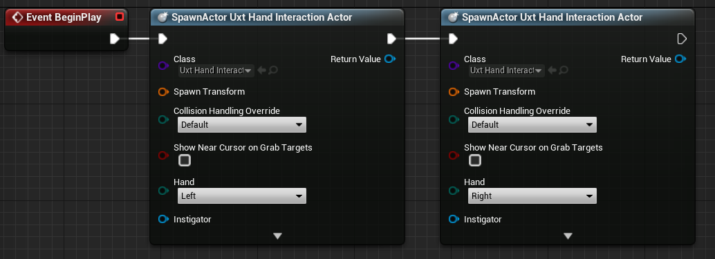 Spawn UXT Hand Interaction Actors