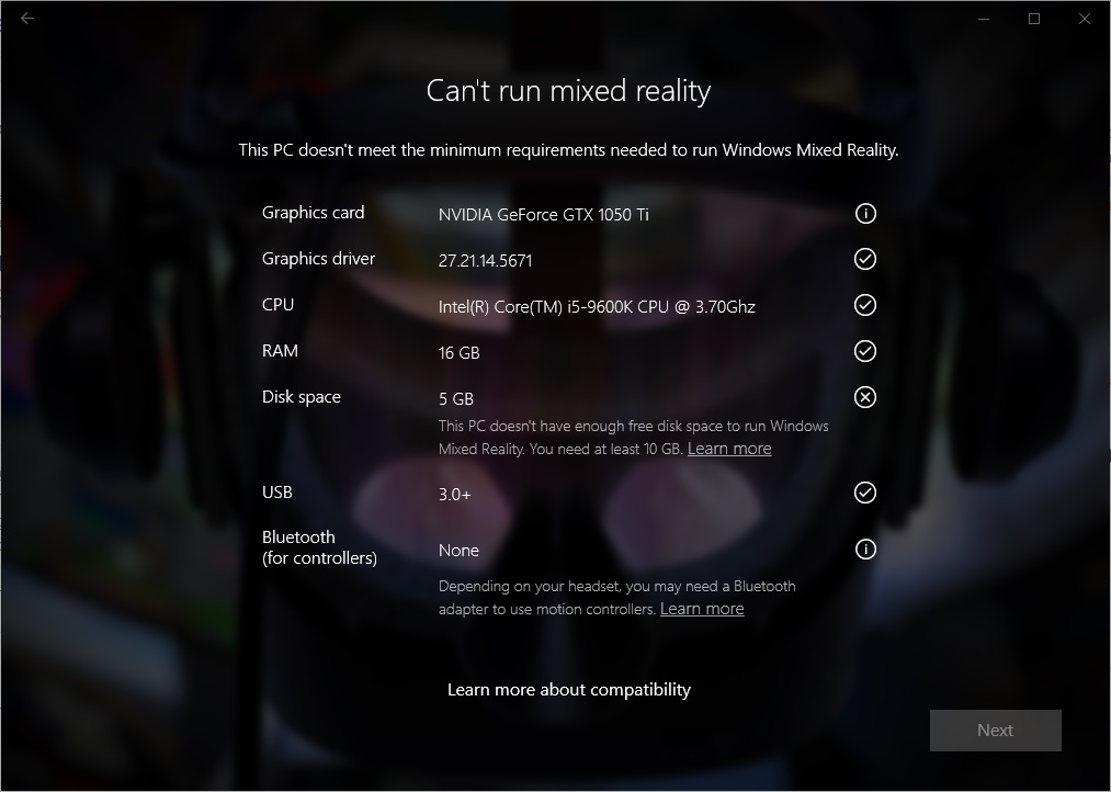 Windows Mixed Reality minimum PC hardware compatibility