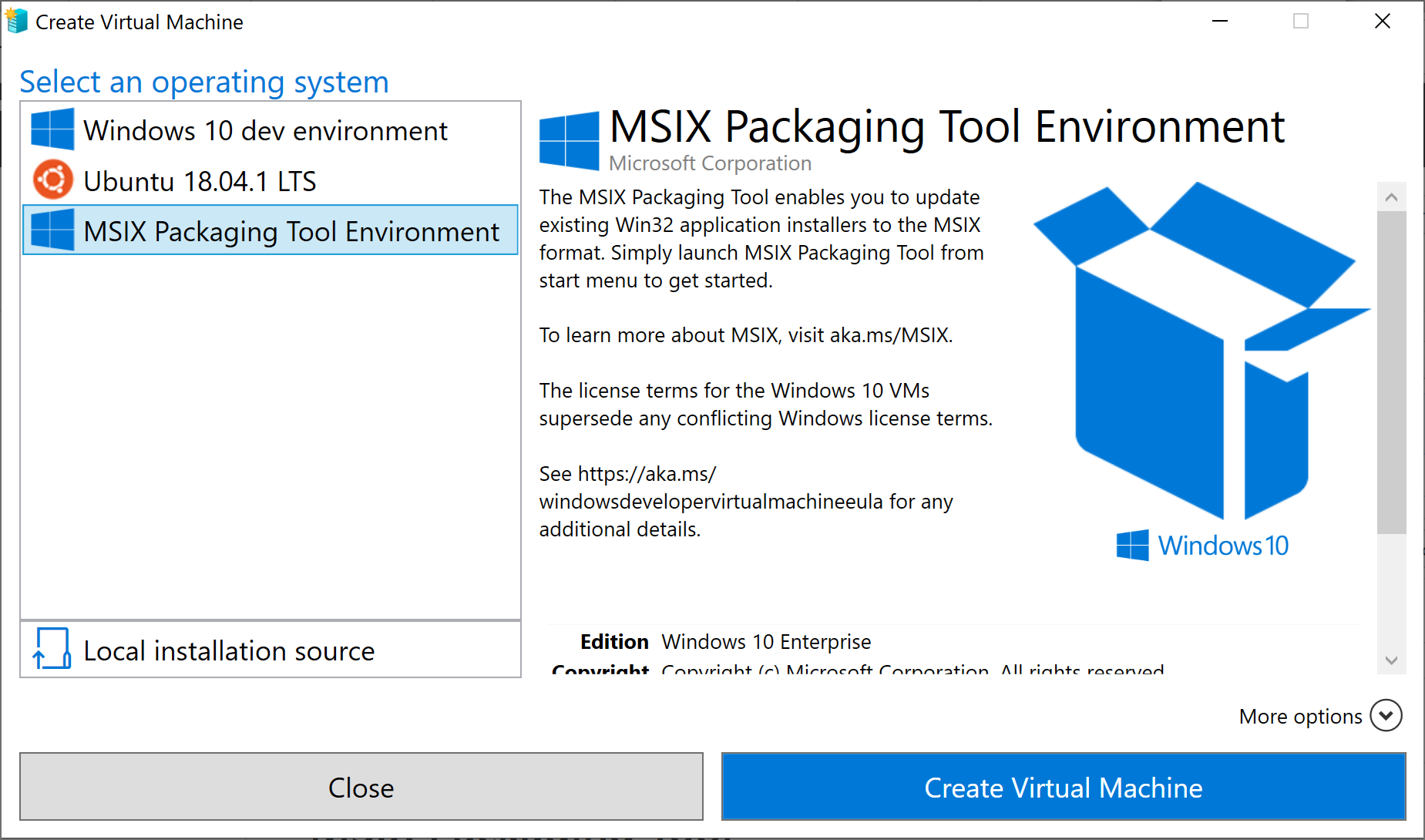 MSIX packaging environment on Hyper-V Quick Create - MSIX
